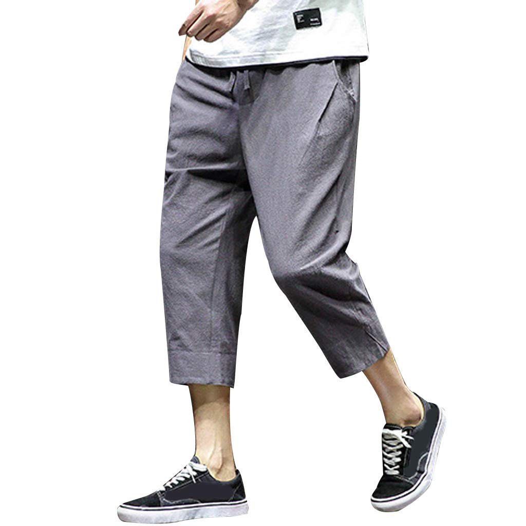 Allywit Men's Loose Fit Elastic Waist Patchwork Shorts Harem Capri Pants Lounge Linen Harem Pants Big and Tall Dark Gray