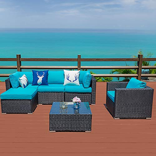 Outdoor Patio Sectional Sofa-6 Piece Rattan Wicker Furniture Set with Blue Cushion (6 PC)