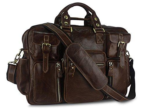 Los hombres Xinmaoyuan bolsos de cuero masculino Retro multifuncionales Portátiles de gran capacidad Bolsa de viaje,rojo Brown