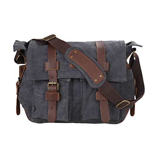 kattee-unisexs-classic-military-canvas-shoulder-messenger-bag-leather-straps-fit-16-laptop-dark-gray