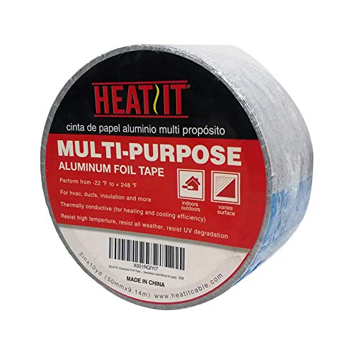 HEATIT Aluminum Foil Tape - 2 inch x 30 feet (10yard Length) for HVAC, Ducts, Pipes, Metal Repair, Pipe Heating Cable Application etc