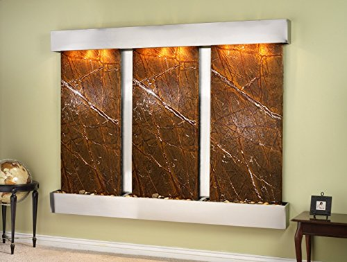 Adagio Deep Creek Falls Fountain w/Brown Rainforest Marble in Stainless Steel Finish