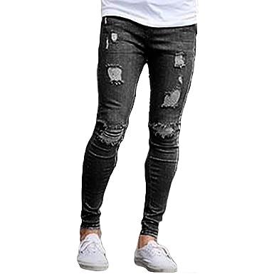 d95d0a1b2bdc Amazon.com  Huicai Men Jeans Ripped worn out Straight Holes ...