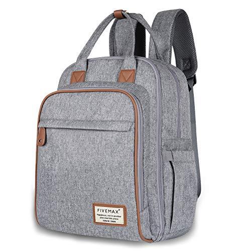Diaper Bag, FIVEMAX Diaper Bag Backpack with Changing Mat, Large Capacity Waterproof & Dustproof, Gray