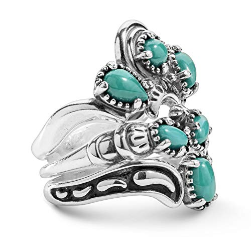 (American West Sterling Silver Green Turquoise Stacking Ring Set Sizes 5)
