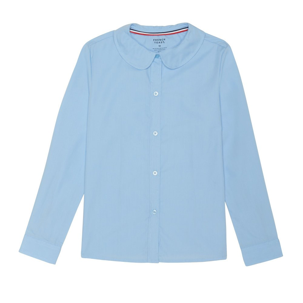 French Toast Girls Plus Size' Long Sleeve Modern Peter Pan Collar Blouse, Light Blue, 20.5