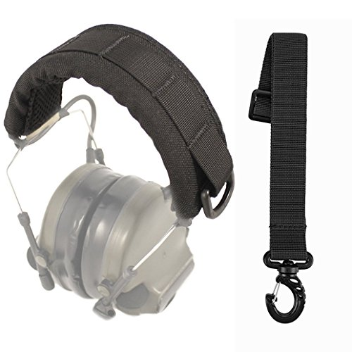 GVN Tactical Headband Advanced Modular Headset Cover Fit For All General Tactical Earmuffs Accessories Upgrade Bags Case (Black + Accessory Bundle)