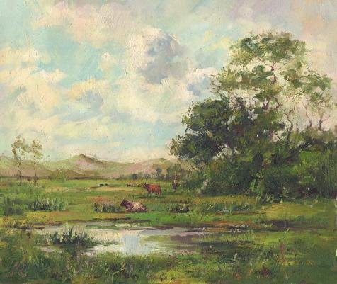[Oil Painting 'Decorative Landscape Painting Of The Cattles On The Grassland' Printing On Perfect Effect Canvas , 16x19 Inch / 41x48 Cm ,the Best Bathroom Decoration And Home Decoration And Gifts Is This Cheap But High Quality Art Decorative Art Decorative Canvas Prints] (Costume Design Programs London)