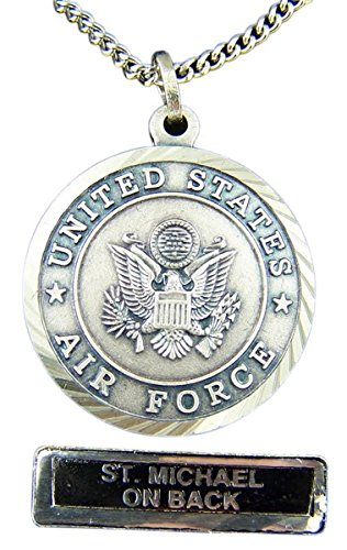 Nickel Silver Patron Saint Michael United States Air Force Medal Pendant, 7/8 Inch