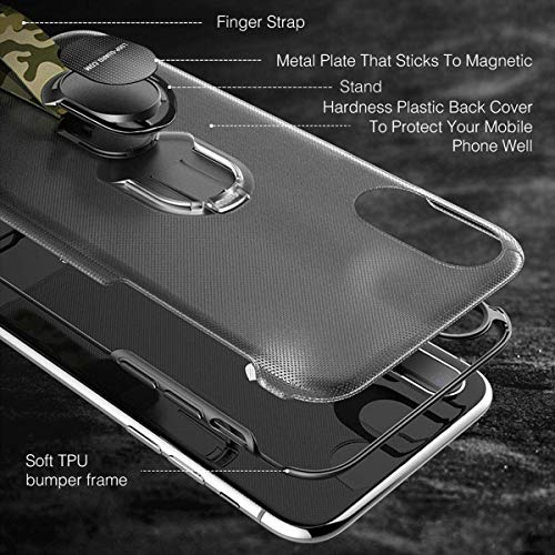 iPhone X Case with Finger Straps & Ring Holder Kickstand, Slim Fit Magnetic Rugged Cover with Grips Loop for Apple iPhone X/10, Support Magnetic Car Mount and Wireless Charging (Black) by LAVAVIK (Image #5)