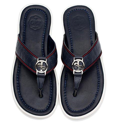 Pantofole Da Uomo Infradito Antiscivolo In Pelle Nera Per Lestate 2017 2990-blu