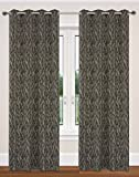 Nature Inspired Branch Design 52x95-in Delta 2-Piece Grommet Curtain Set, Taupe/Black