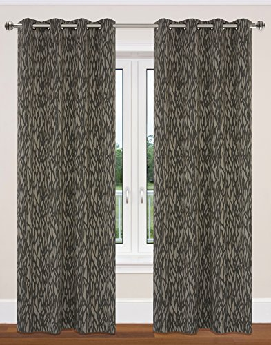 LJ Home Fashions Delta Nature Inspired/Branch Design Grommet Curtain Panels (Set of 2) 52x95-in, Taupe/Black
