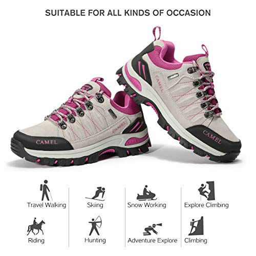 Suede Sports Climbing Outsole Shoes CAMEL Rubber Ladies Shoes Trail Trekking Shoes Trainers CROWN Outdoor Shoes Women's Lightweight Breathable Walking Grey Footwear Running Breathable Hiking Tq1XxSPwyq