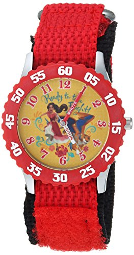 Disney Girl's 'Elena of Avalor' Quartz Stainless Steel and Nylon Casual Watch, Color:Red (Model: WDS000283)