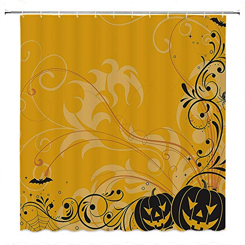 SATVSHOP Creative-Home-Ideas-Textured-Shower-Curtain-with-Beaded-Rings-Halloween-Carved-Pumpkin-with-Floral-Pattern-bat-and-Spider-Web-Horror-Theme-Artwork-Orange-Black.W96-x-L72-inch