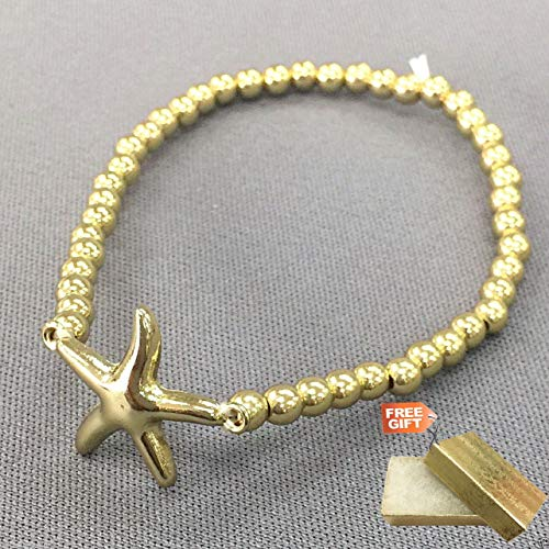 Gold Finish Simple Beaded Starfish Charm Sea Life Inspired Stretch Fashion Jewelry Bracelet For Women + Gold Cotton Filled Gift Box for Free (010 Diamond Finish)