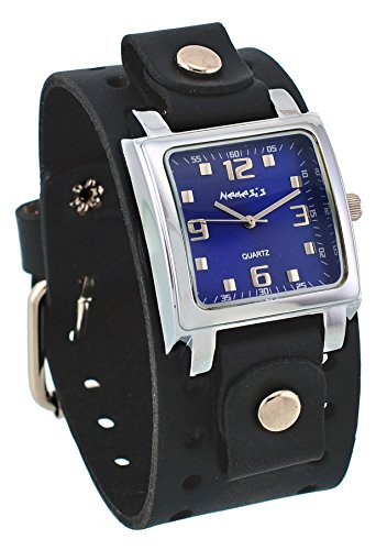 Nemesis #BB516L Men's Square Blue Dial Wide Leather Cuff Band Watch