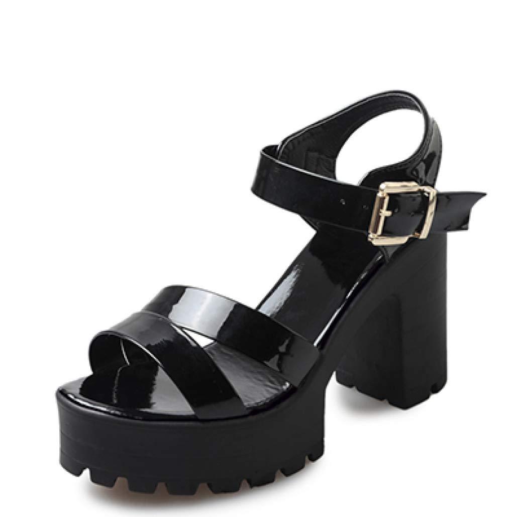 Black MEIZOKEN Women's Ankle Strap Block Heeled Platform Sandal Open Toe Cutout High Chunky Heel Gladiator Sandals