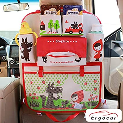 Ergocar Car Organiser Cartoon Kick Mats For Car Kick Mat Car Back Seat Protector Car Seat Organiser With Insulation Bags Hanging Muti-Pockets Storage For Kids Toy Storage Blue Whale - 1 Pack