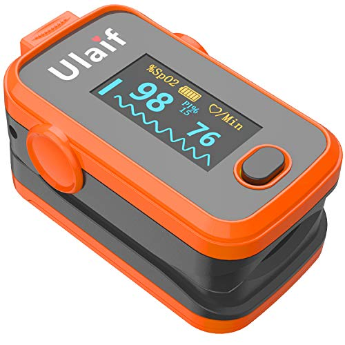 - Pulse Oximeter Fingertip, Ulaif OLED Display Finger Pulse Oximeter Blood Oxygen Saturation Monitor, Portable SpO2 Readings with Carrying Case, Silicone Case, Lanyard and Batteries, FDA Cleared
