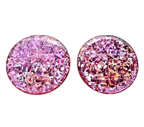 (Domed Round 2x Pink Reflective Decals Decal Circle Glitter Safety Reflector Night Gloss 3D Gel Rear Resin Motorcycle Sticker Badge Reflector Bike Bicycle Car Helmet Trunk Tailgate Self Adhesive)