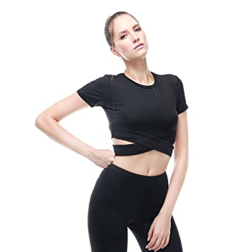 ab4a8d69d1a Vansydical Women Sexy Yoga Shirts Quick Dry Running Fitness Short Sleeve  Tees Breathable Gym Workout Jogging