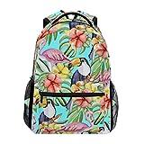 School Backpack Summer Tropical Flowers Toucans Flamingo Lightweight Travel Daypack College Bag for Women Girls