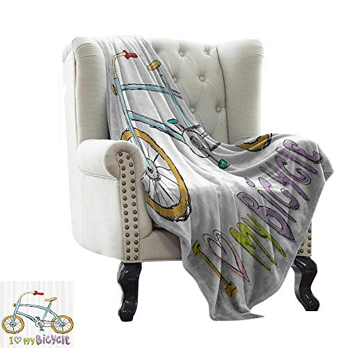 - RenteriaDecor Bicycle Decor,Custom Picture Blankets I Love My Bicycle Quote Print with A Little Fashionable Kids Bike with Pedals Cartoon Decor 60