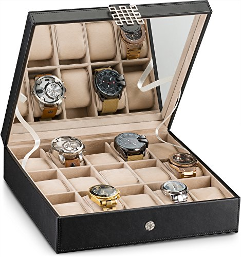 Case Ladies Jewelry (Glenor Co Watch Box for Women - 15 Slot Classic Watch Case Display Organizer with Modern Buckle -Black)