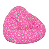 Elite's FUN PATTERNS Poly Cotton Twill PINK FLOWER BEAN BAG Kids Large Size 32''W x 30''D x 25'' High Frameless Chair