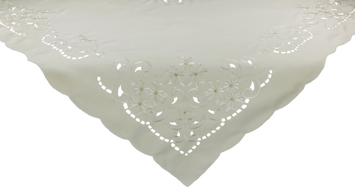 Xia Home Fashions Daisy Collection Embroidered Cutwork Table Topper, 34-Inch by 34-Inch, White