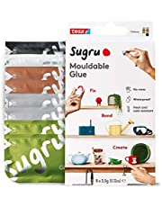 Sugru Moldable Multi-Purpose Glue for Creative Fixing and Making, 8-Pack, Black, White, Green, Brown & Gray, 8 Piece