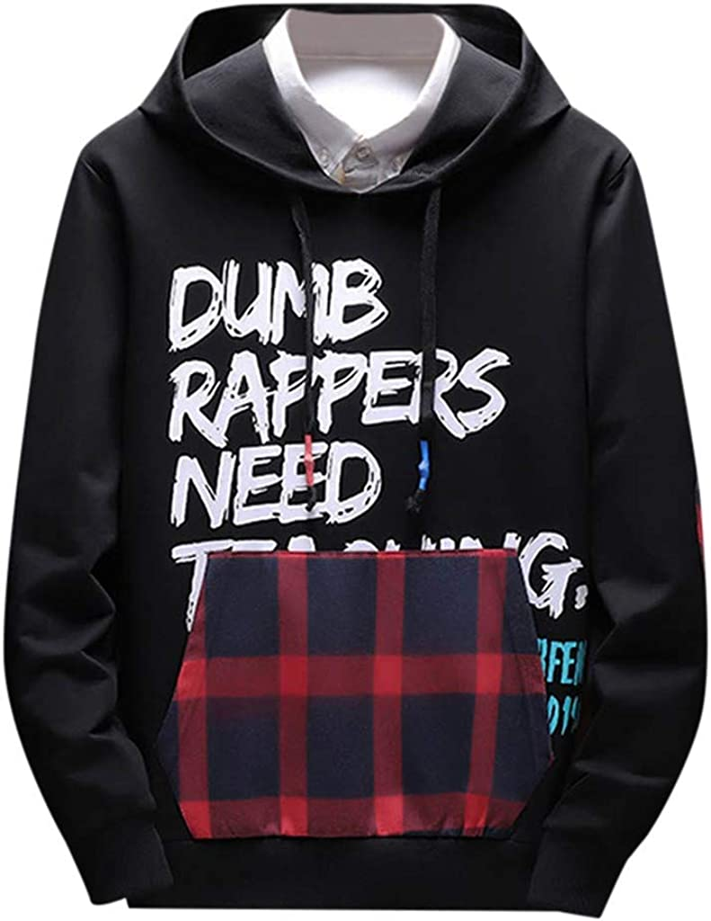 Casual Stitching Drawstring Button Long Sleeve Hoodie Top Front Pocket Bravetoshop Man Pullover Hooded Sweatshirt