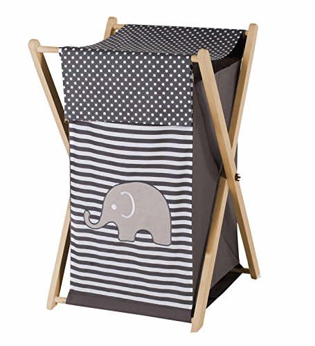 Bacati Elephants Unisex Hamper Cover with Natural Finish Wood Frame and Mesh Liner, Grey