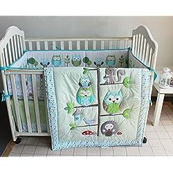 Green Owl Bird Embroidered 7pcs crib set Baby Bedding Set Crib Bedding Set Girl Boy Nursery Crib Bumper bedding
