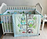 crib bumper owl girl - Green Owl Bird Embroidered 7pcs crib set Baby Bedding Set Crib Bedding Set Girl Boy Nursery Crib Bumper bedding