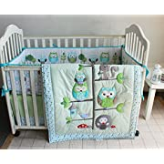 Green Owl Bird Embroidered 7pcs crib set Baby Bedding Set Crib Bedding Set Girl Boy Nursery Crib Bumper bedding