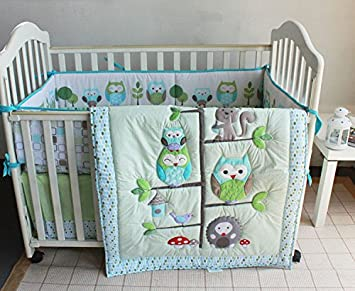 green owl bird embroidered 7pcs crib set baby bedding set crib bedding set girl boy nursery - Baby Bedding For Boys