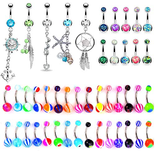 BodyJ4You 65 Belly Button Rings Dangle Barbells 14G Steel CZ Created-Opal Navel Body Jewelry