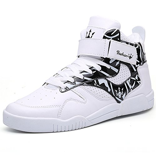 QANSI Mens Fashion High Top Leather Street Sneakers Sports Casual Shoes White/Black