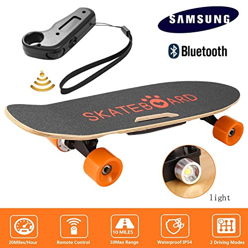 Garain Single Hub Motor 350W Electric Cruiser Skateboard, Penny Board with Bluetooth Speaker Front Light Remote Control
