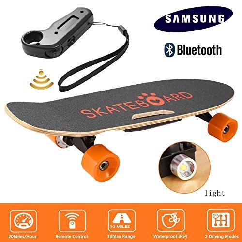 Garain Single Hub Motor 350W Electric Cruiser Skateboard, Penny Board with Bluetooth Speaker Front Light Remote Control