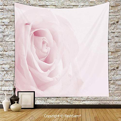 Polyester Tapestry Wall Pink Rose Close Up with Soft Blur Focus Fresh Fragile Fragrance Smell Valentines Day Decorative Hanging Printed Home Decor(W51xL59)