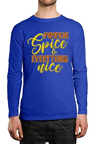 Pumpkin Spice & Everything Nice Men's Long Sleeve Shirt, SpiritForged Apparel, Royal - Royal Clothing Spice