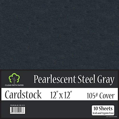 Pearl Shimmer Metallic Steel Gray Cardstock - 12 x 12 inch - 105Lb Cover - 10 Sheets