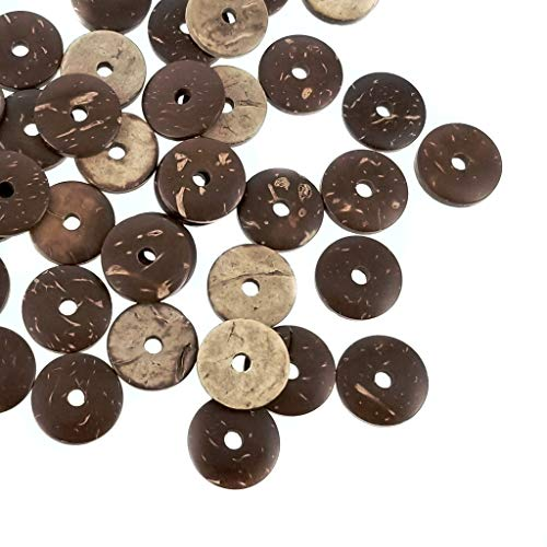 Natural Dark Light Brown Loose Coconut Wood Heishi Flat Disc Beads for Jewelry Making, Crafts (15mm or 1/2 Inch)