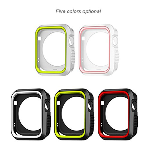 Morenitor for Apple Watch Case, 42mm Double Color Soft Silicone TPU Bumper Plating Protective Cover Case for Apple Watch iWatch Series 2 3 (Black and Red - 42 mm) by Morenitor (Image #1)
