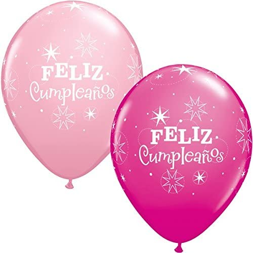 Qualatex Feliz Cumpleanos Rosado & Wild Berry Rosado Sparkle Latex Globos x 5