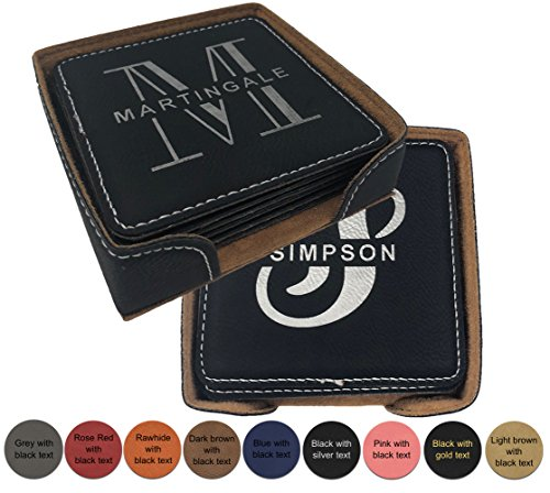 Personalized Leatherette Name Coaster - Set of 6 with holder. FREE ENGRAVING by Griffco (Black w/ silver text)]()